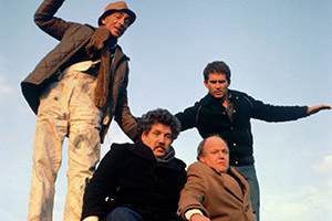 Cowboys. Image shows from L to R: Wobbly Ron (David Kelly), Richard Geyser (Colin Welland), Joe Jones (Roy Kinnear), Eric (James Wardroper). Copyright: Thames Television.