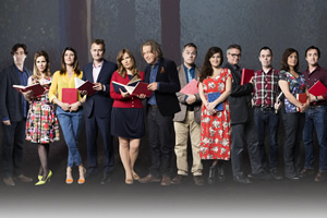 Crackanory. Image shows from L to R: Stephen Mangan, Sally Phillips, Sharon Horgan, Hugh Dennis, Jessica Hynes, Harry Enfield, Jack Dee, Sarah Solemani, Charlie Higson, Neville (Kevin Eldon), Rebecca Front, Richard Hammond. Copyright: Tiger Aspect Productions.