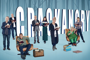 Crackanory. Image shows from L to R: Bob Mortimer, Dara O Briain, Ben Bailey Smith, Mackenzie Crook, Anna Friel, Sheridan Smith, Miriam Margolyes, Mel Giedroyc. Copyright: Tiger Aspect Productions.