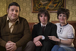 Cradle To Grave. Image shows from L to R: Fred 'Spud' Baker (Peter Kay), Danny Baker (Laurie Kynaston), Bet Baker (Lucy Speed). Copyright: ITV Studios.