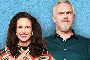 Cuckoo. Image shows from L to R: Ivy (Andie MacDowell), Ken (Greg Davies). Copyright: Roughcut Television.