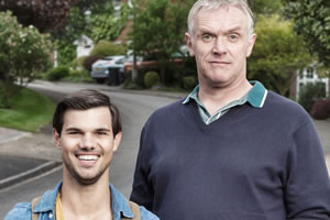 Cuckoo. Image shows from L to R: Dale (Taylor Lautner), Ken (Greg Davies). Copyright: Roughcut Television.