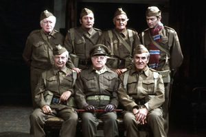 Dad's Army. Image shows from L to R: Private Godfrey (Arnold Ridley), Lance Corporal Jones (Clive Dunn), Private Walker (James Beck), Captain Mainwaring (Arthur Lowe), Private Frazer (John Laurie), Sergeant Wilson (John Le Mesurier), Private Pike (Ian Lavender).