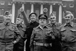 Dad's Army. Image shows from L to R: Lance Corporal Jones (Clive Dunn), Private Godfrey (Arnold Ridley), ARP Warden Hodges (Bill Pertwee), Captain Mainwaring (Arthur Lowe), Private Frazer (John Laurie), Sergeant Wilson (John Le Mesurier). Copyright: BBC.
