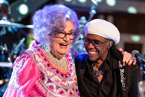 Dame Edna Rules The Waves. Image shows from L to R: Dame Edna Everage (Barry Humphries), Nile Rodgers.