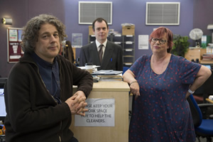 Damned. Image shows from L to R: Al Kavanagh (Alan Davies), Martin Bickerstaff (Kevin Eldon), Rose Denby (Jo Brand). Copyright: What Larks Productions.