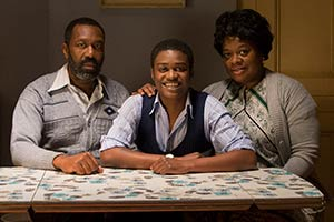 Danny & The Human Zoo. Image shows from L to R: Samson Fearon (Lenny Henry), Danny Fearon (Kascion Franklin), Myrtle Fearon (Cecilia Noble). Copyright: Red Production Company.