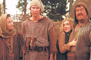 Dark Ages. Image shows from L to R: Agnes (Pauline McLynn), Arland (Jason Byrne), Matilda (Sheridan Smith), Gudrun (Phill Jupitus). Copyright: Granada Productions.