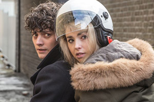 Dead In A Week (Or Your Money Back). Image shows from L to R: William (Aneurin Barnard), Ellie (Freya Mavor). Copyright: Sprout Pictures.