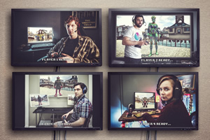Dead Pixels. Image shows from L to R: Nicholas 'Nicky' Kettle (Will Merrick), Usman (Sargon Yelda), Russell (David Mumeni), Megan 'Meg' Jefferies (Alexa Davies).