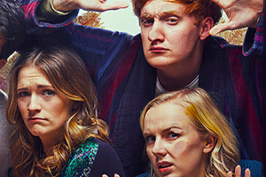 Dead Pixels. Image shows from L to R: Alison (Charlotte Ritchie), Nicholas 'Nicky' Kettle (Will Merrick), Megan 'Meg' Jefferies (Alexa Davies).