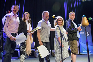 Dead Ringers. Image shows from L to R: Lewis Macleod, Debra Stephenson, Jon Culshaw, Jan Ravens, Duncan Wisbey. Copyright: BBC.