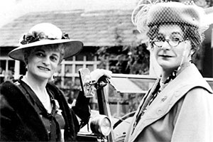 Dear Ladies. Image shows from L to R: Dame Hilda Bracket (Patrick Fyffe), Dr Evadne Hinge (George Logan). Copyright: BBC.