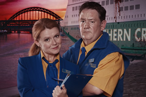 Death On The Tyne. Image shows from L to R: Gemma (Sian Gibson), Terry (Johnny Vegas).