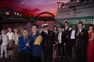 Death On The Tyne. Image shows from L to R: Mildred (Sheila Reid), Hilda (Georgie Glen), Colleen (Sue Johnston), Gemma (Sian Gibson), Terry (Johnny Vegas), Captain Jack (James Fleet), Tracy (Taj Atwal), Denise (Felicity Montagu), DJ Bobby (David Mumeni), Alan (Don Gilet), Justin Valentine (Tony Gardner), Emily (Doon Mackichan).