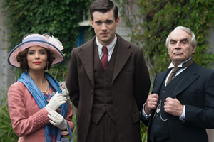 Decline And Fall. Image shows from L to R: Margot Beste-Chetwynde (Eva Longoria), Paul Pennyfeather (Jack Whitehall), Dr Fagan (David Suchet).