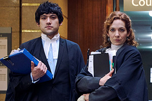 Defending The Guilty. Image shows from L to R: Will Packham (Will Sharpe), Caroline Bratt (Katherine Parkinson). Copyright: Big Talk Productions.