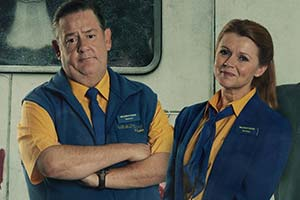 Dial M For Middlesbrough. Image shows from L to R: Terry (Johnny Vegas), Gemma (Sian Gibson). Copyright: Shiny Button Productions.