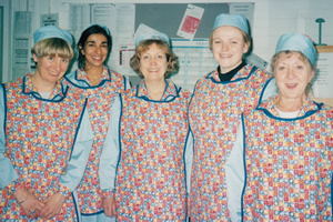 dinnerladies diaries. Image shows from L to R: Victoria Wood, Shobna Gulati, Anne Reid, Maxine Peake, Thelma Barlow. Copyright: UKTV.