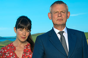 Doc Martin. Image shows from L to R: Louisa Glasson (Caroline Catz), Dr Martin Ellingham (Martin Clunes).