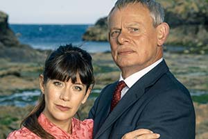 Doc Martin. Image shows from L to R: Louisa Glasson (Caroline Catz), Dr Martin Ellingham (Martin Clunes). Copyright: ITV.