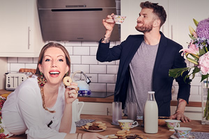 The Domestics. Image shows from L to R: Katherine (Katherine Ryan), Joel (Joel Dommett).