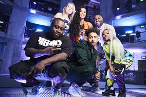 Don't Hate The Playaz. Image shows from L to R: Shortee Blitz, Amelia Dimoldenberg, Maya Jama, Jordan Stephens, Darren Harriott, Lady Leshurr.