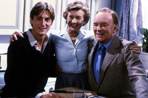 Don't Wait Up. Image shows from L to R: Tom Latimer (Nigel Havers), Angela Latimer (Dinah Sheridan), Toby Latimer (Tony Britton). Copyright: BBC.