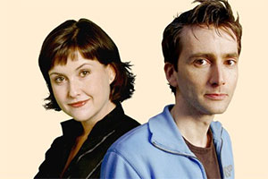 Double Income, No Kids Yet. Image shows from L to R: Lucy (Elizabeth Carling), Daniel (David Tennant). Copyright: BBC.