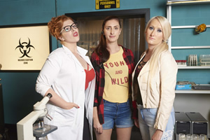 Drifters. Image shows from L to R: Bunny (Lydia Rose Bewley), Meg (Jessica Knappett), Laura (Lauren O'Rourke).