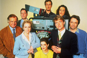 Drop The Dead Donkey. Image shows from L to R: Henry Davenport (David Swift), George Dent (Jeff Rawle), Helen Cooper (Ingrid Lacey), Sally Smedley (Victoria Wicks), Damien Day (Stephen Tompkinson), Gus Hedges (Robert Duncan), Joy Merryweather (Susannah Doyle), Damien Day (Stephen Tompkinson). Copyright: Hat Trick Productions.