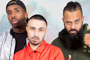 Dropperz. Image shows from L to R: Judas J (Kiell Smith-Bynoe), Flashman (Adam Deacon), Big Gib (Guz Khan).