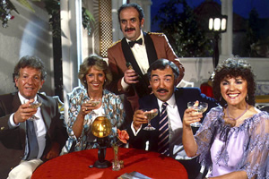 Duty Free. Image shows from L to R: David Pearce (Keith Barron), Linda Cochran (Joanna Van Gyseghem), Carlos (Carlos Douglas), Robert Cochran (Neil Stacy), Amy Pearce (Gwen Taylor). Copyright: Yorkshire Television.