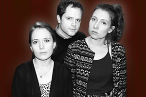 Lazy Susan: East Coast Listening Post. Image shows from L to R: Jenna (Freya Parker), Eric (David Elms), Dana (Celeste Dring). Copyright: BBC.