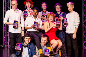 Edinburgh Comedy Awards 2017 nominees. Image shows from L to R: Jordan Brookes, Spencer Jones, Elf Lyons, Ahir Shah, John Robins, Mat Ewins, Sophie Willan, Hannah Gadsby, Mae Martin.
