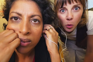Election Spy. Image shows from L to R: Amira (Priyanga Burford), Becs (Sophia Di Martino). Copyright: Hat Trick Productions.