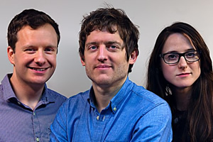 Elis James' Pantheon Of Heroes. Image shows from L to R: Benjamin Partridge, Elis James, Nadia Kamil. Copyright: BBC.