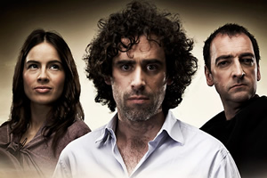 ElvenQuest. Image shows from L to R: Penthiselea (Ingrid Oliver), Sam (Stephen Mangan), Lord Darkness (Alistair McGowan). Copyright: BBC.