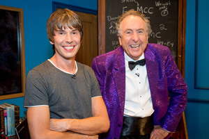 The Entire Universe. Image shows from L to R: Brian Cox, Eric Idle. Copyright: BBC / Guy Levy.