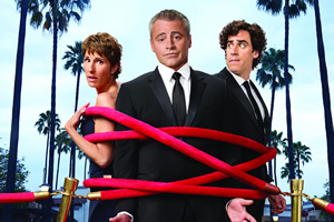 Episodes. Image shows from L to R: Beverly Lincoln (Tamsin Greig), Matt LeBlanc (Matt LeBlanc), Sean Lincoln (Stephen Mangan). Copyright: Hat Trick Productions / BBC.