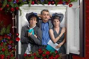 Episodes. Image shows from L to R: Sean Lincoln (Stephen Mangan), Matt LeBlanc (Matt LeBlanc), Beverly Lincoln (Tamsin Greig). Copyright: Hat Trick Productions.