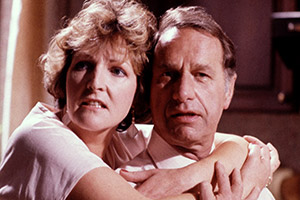 Executive Stress. Image shows from L to R: Caroline Fairchild (Penelope Keith), Donald Fairchild (Geoffrey Palmer). Copyright: Thames Television.