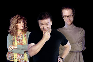 Extras. Image shows from L to R: Maggie Jacobs (Ashley Jensen), Andy Millman (Ricky Gervais), Darren Lamb (Stephen Merchant).
