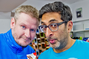Fags, Mags And Bags. Image shows from L to R: Dave (Donald Mcleary), Ramesh (Sanjeev Kohli). Copyright: The Comedy Unit.