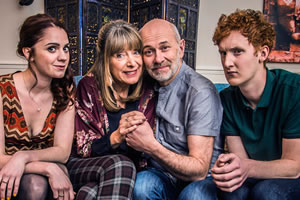 Fail. Image shows from L to R: Claire (Ruby Thomas), Helen (Julia Deakin), Marshall (Vincent Franklin), Paul (Will Merrick). Copyright: The Comedy Unit.