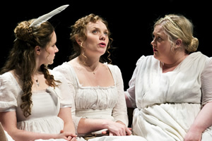 The Fair Intellectual Club. Image shows from L to R: Alison (Jessica Hardwick), Marjory (Samara Maclaren), Ishbel (Caroline Deyga). Copyright: ABsoLuTeLy Productions.