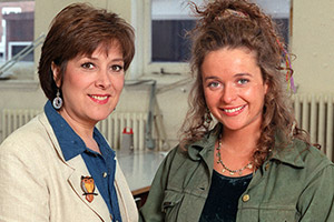Faith In The Future. Image shows from L to R: Faith Grayshott (Lynda Bellingham), Hannah Grayshott (Julia Sawalha). Copyright: London Weekend Television.