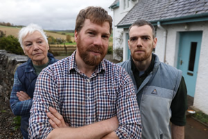 The Farm. Image shows from L to R: Mother (Ann-Louise Ross), Jim MacDonald (Jim Smith), Donnie (Chris Forbes). Copyright: BBC.