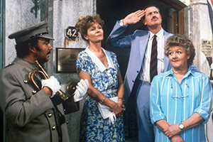 Farrington Of The F.O.. Image shows from L to R: Fidel Sanchez (Tony Haygarth), Harriet Emily Farrington (Angela Thorne), Major Percy Willoughby-Gore (John Quayle), Annie Begley (Joan Sims). Copyright: Yorkshire Television / REX / Shutterstock.