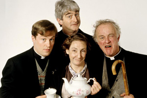 Father Ted. Image shows from L to R: Father Dougal McGuire (Ardal O'Hanlon), Father Ted Crilly (Dermot Morgan), Mrs Doyle (Pauline McLynn), Father Jack Hackett (Frank Kelly). Copyright: Hat Trick Productions.